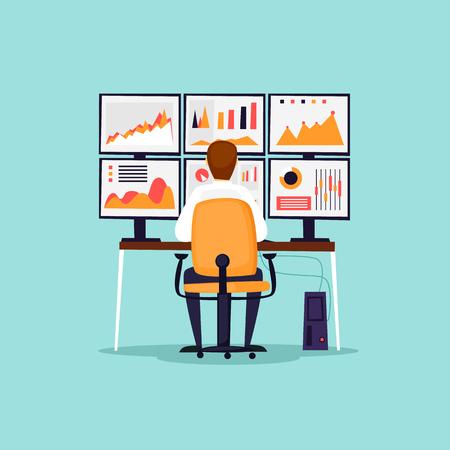 Analytics, analyse, risico's, statistieken, zakenman zit achter de computer voor monitors. Platte ontwerp vectorillustratie.