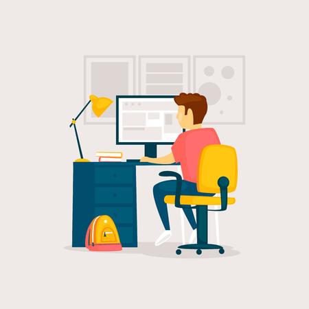 Ð¡hild does homework at the computer, interior. Flat design vector illustration. Çizim