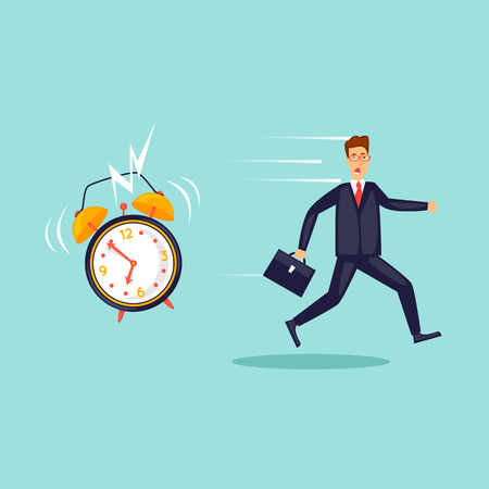 Alarm clock drives businessman to work, deadline. Flat design vector illustration. Illustration