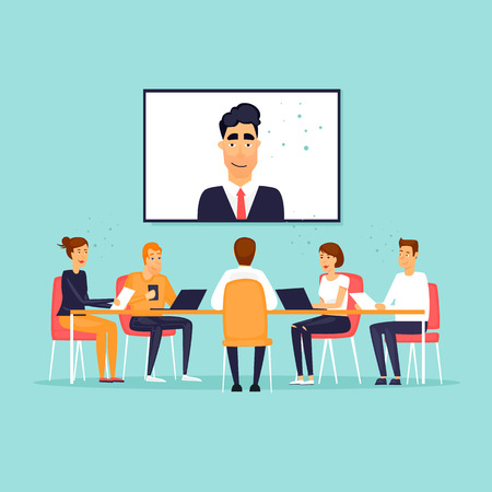 Online business meeting. Flat design vector illustration. Çizim