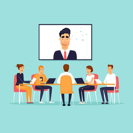 Online business meeting. Flat design vector illustration. Illustration