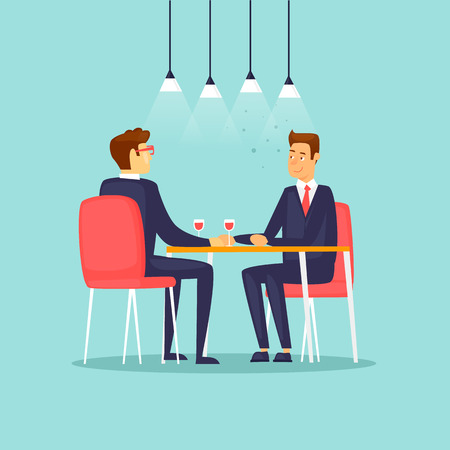 Business meeting in the restaurant. Flat design vector illustration. Ilustracja