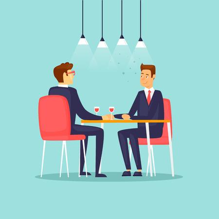 Business meeting in the restaurant. Flat design vector illustration. Stock Illustratie