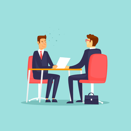 Interviewing, job search. Flat design vector illustration.