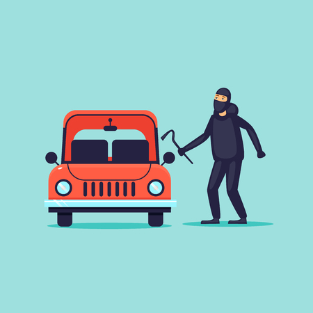 Thief steals cars, insurance. Flat design vector illustration.