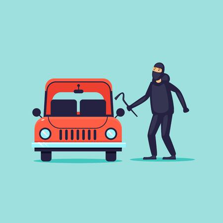 Thief steals cars, insurance. Flat design vector illustration. Standard-Bild - 92949306