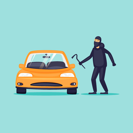 Thief steals cars, insurance. Flat design vector illustration.