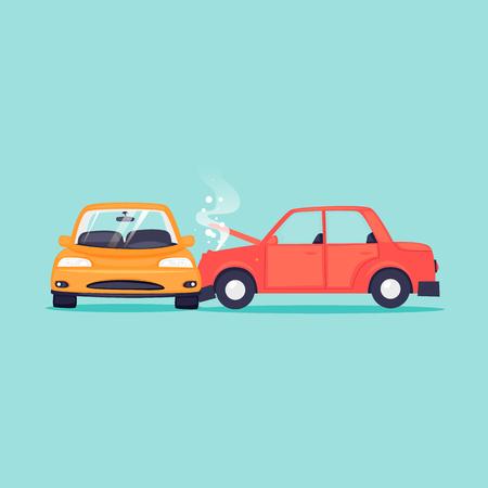 Wypadek samochodowy, ubezpieczenie komunikacyjne. Ilustracja wektorowa Płaska konstrukcja.