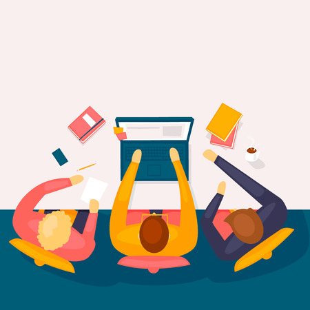 Teamwork top view. Flat design vector illustration. 일러스트