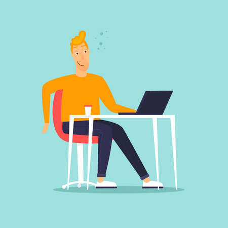 Happy businessman sitting at computer. Flat design vector illustration. Vettoriali