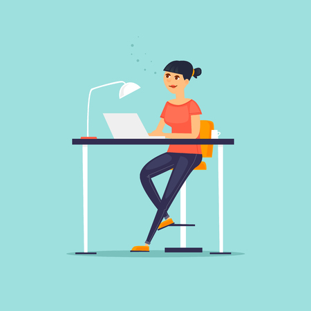 Business characters. Girl is working at the computer. Co working people, meeting. Workplace. Office life. Flat design vector illustration.