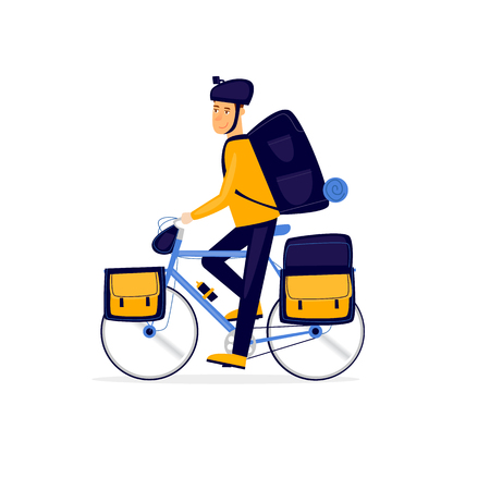 Cycling, man riding a bicycle. Flat vector illustration in cartoon style. Ilustrace
