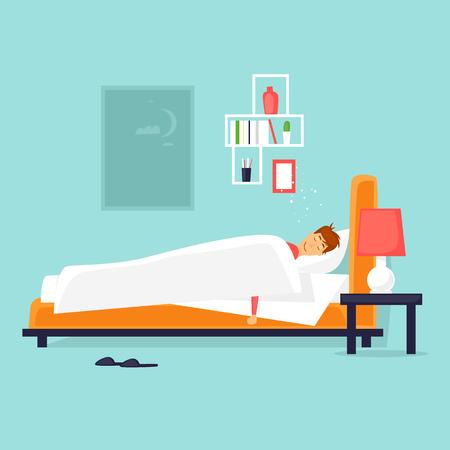 남자는 침대에서 자고있다. 만화 스타일에서 플랫 벡터 일러스트 레이 션.