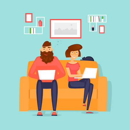Couple working at home, freelancing, business, office. Flat vector illustration in cartoon style.