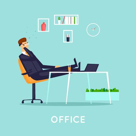 Geschäftsmann im Büro sprechend am Telefon, der Innenraum. Flache Vektorillustration in der Karikaturart. Standard-Bild - 93874396