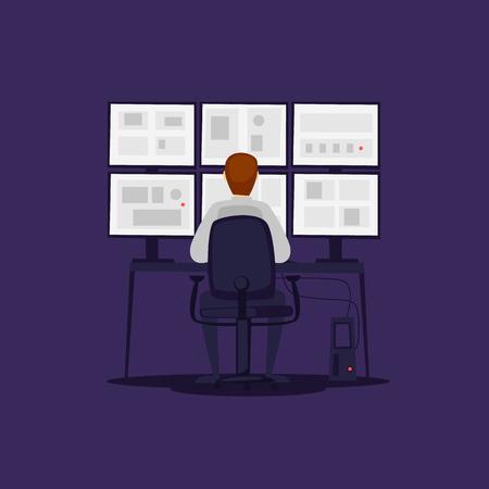 Garde surveille les moniteurs. Illustration vectorielle plane en style cartoon.