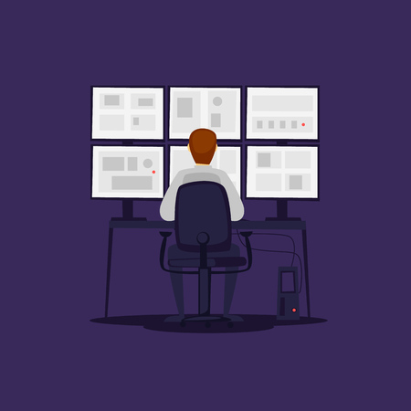 Guard monitors the monitors. Flat vector illustration in cartoon style. 일러스트