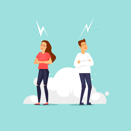 Couple swears, quarrels. Flat vector illustration in cartoon style.
