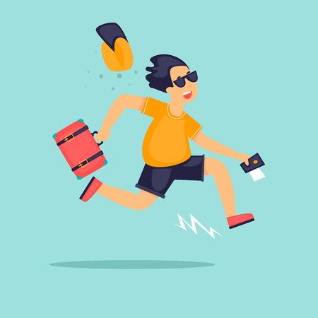 旅行の時間だ 男はスーツケースを持って走る漫画スタイルのフラットベクトルイラスト。  イラスト・ベクター素材