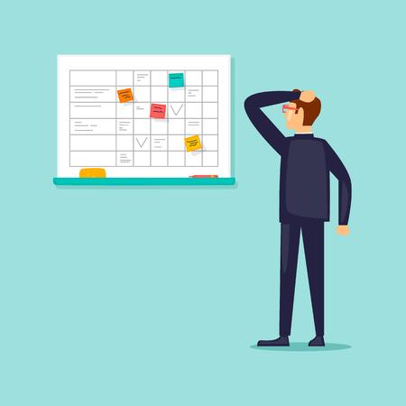 Businessman planning to work on the blackboard. Flat vector illustration in cartoon style. Çizim