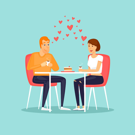 February 14. Lovers in a cafe eating a cake. Flat vector illustration in cartoon style.