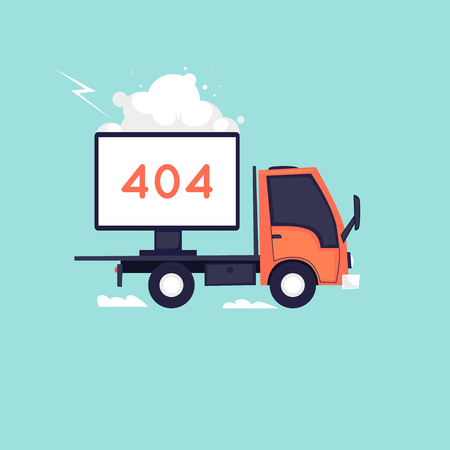 Error 404 page. Truck carries a computer for repairs. Flat vector illustration in cartoon style.