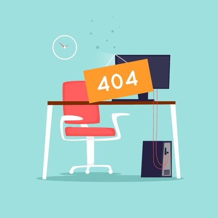 Error 404 page. Office interior. Flat vector illustration in cartoon style.