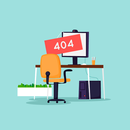 Error 404 page. Office interior. Flat vector illustration in cartoon style.
