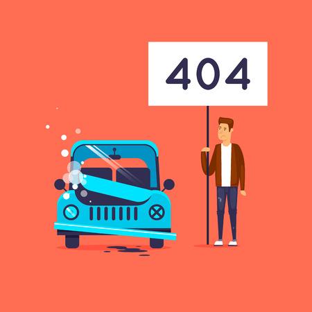 Fout 404-pagina. Kapotte auto. Platte vectorillustratie in cartoon-stijl. Stock Illustratie