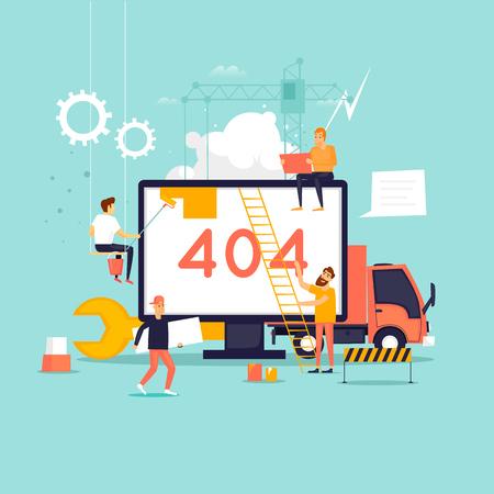 Strona błędu 404. Konstruktorzy, naprawa, dźwig, strona. Płaskie ilustracji wektorowych w stylu cartoon.
