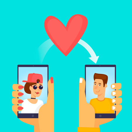Girl sent the heart to the guy on the phone on February 14. Flat vector illustration in cartoon style.