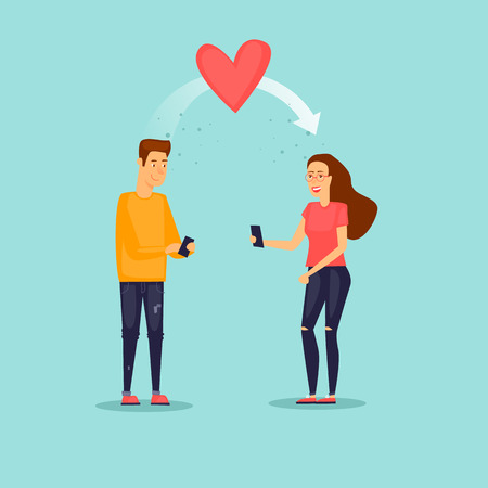 Guy sent the heart to the girl by phone on February 14. Flat vector illustration in cartoon style.