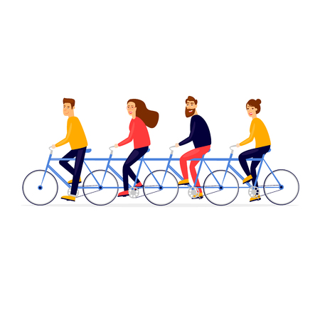 Teamwork business people traveling by bicycle. Flat vector illustration in cartoon style.