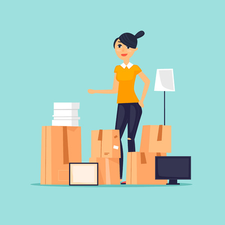 Moving, girl with boxes. Flat vector illustration in cartoon style. Illustration