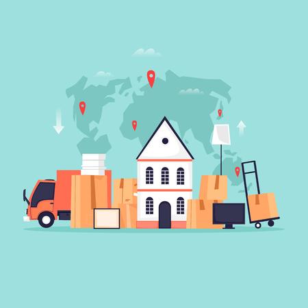 Trasporto merci, trasferimento in un nuovo appartamento, scatole con le cose. Illustrazione vettoriale piatta in stile cartone animato. Archivio Fotografico - 94466441
