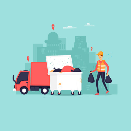 Garbage collection in the city, truck container with garbage scavenger. Flat vector illustration in cartoon style. Illustration