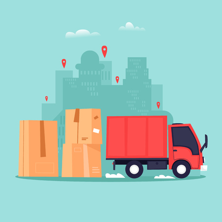 Cargo transportation, moving to a new apartment, boxes with things. Flat vector illustration in cartoon style. Illustration