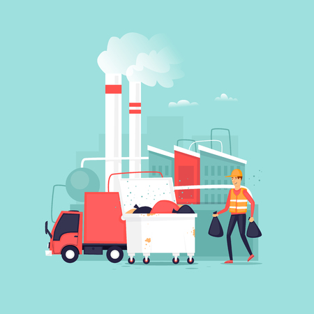 Garbage processing plant. Truck. Container with garbage. Flat vector illustration in cartoon style.