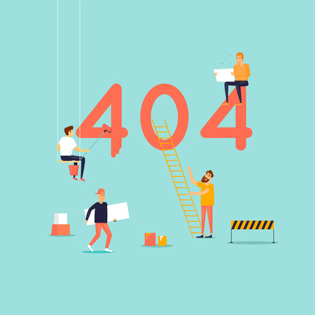 Error 404 page. Builders, repair, crane, site. Flat vector illustration in cartoon style.