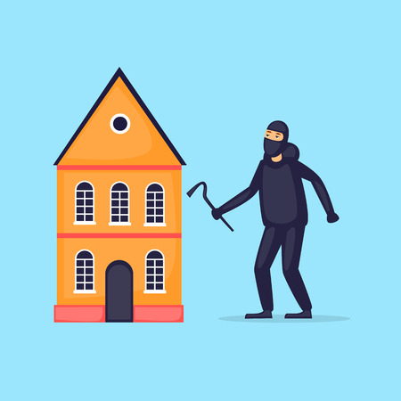 Thief breaks into the house. Flat design vector illustration. Vectores