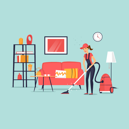 Cleaning of apartments. Woman Cleaner. Interior. Flat vector illustration in cartoon style.