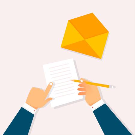Writing a letter. Flat design vector illustration. Illustration