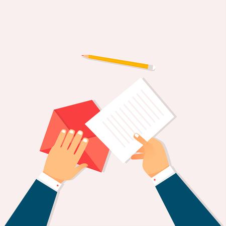 Sending letter. Flat design vector illustration.
