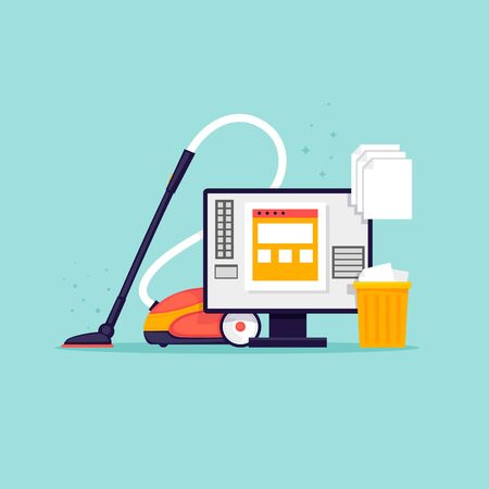 Cleaning the computer. Flat design vector illustration. Çizim
