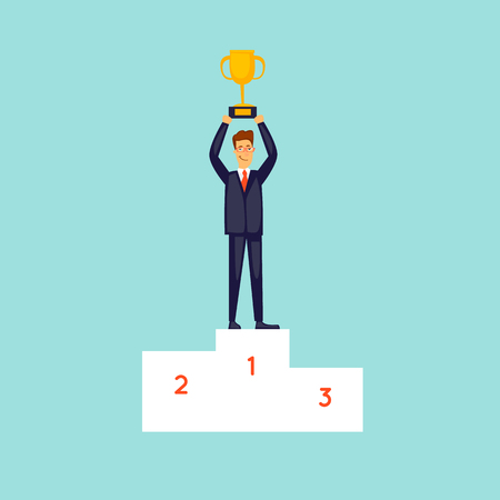 Businessman took first place. Success in business. Flat design vector illustration.