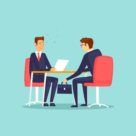 Businessman gives a bribe. Flat design vector illustration.
