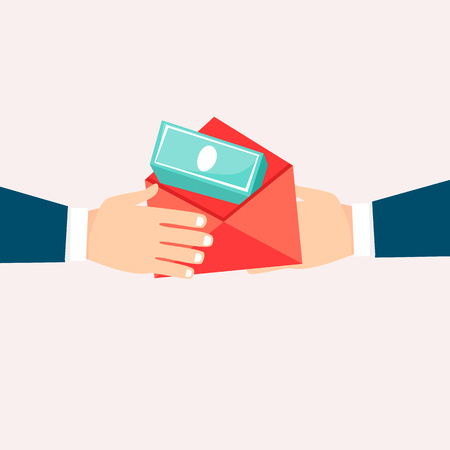 Bribe-giving. Flat design vector illustration. Иллюстрация