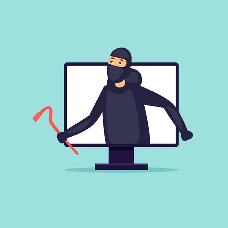 Internet theft of money. Flat design vector illustration. Illustration