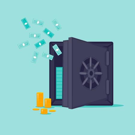 Open safe with money. Flat design vector illustration. Illustration
