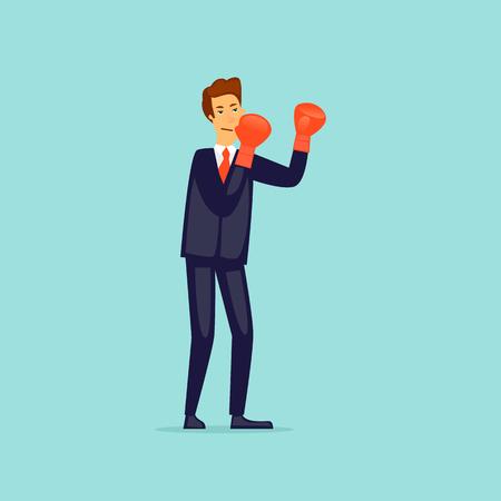 Businessman in boxing gloves. Flat design vector illustration. Illustration
